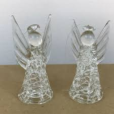 details about vintage set of 2 angel hand spun crystal clear glass ornament figurine