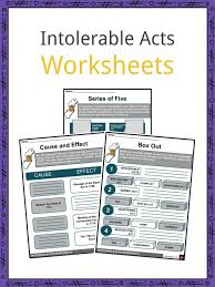 Boston Tea Party Cause And Effect Chart Intolerable Acts Worksheets Facts Definition For Kids