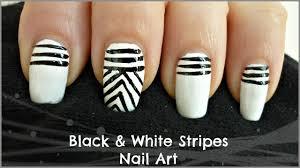 Easy Black and White Stripes Nail Art! (For Beginners) - YouTube