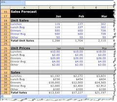Forecasting Spreadsheet Example Initial Sales Forecast For A Restaurant Bplans