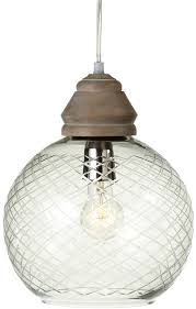 midwest cbk etched round glass and wood pendant light chandelier from elizabeth s embellishments