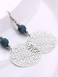 new fashion tribal jewelry vintage silver big round earhook retro flower pendant earrings women