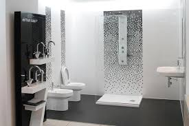 black and white modern shower tile