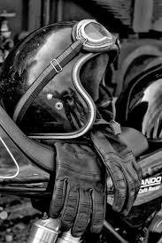 going old cafe gear helmet goggles gloves norton mando cafe racer