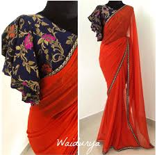 Kolar Design Blouse Diwali Capsule Collection Stunning Red Color Designer Saree