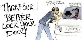 lock your door.  Your Door Please Lock Car The Sign Close  On Your