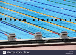 starting blocks in a olympic swimming pool stock image