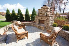 outdoor stone fireplace kits style