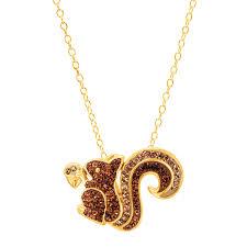 squirrel pendant with swarovski crystals