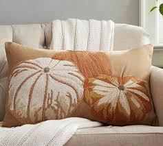 Pumpkin Embroidered Lumbar Pillow Cover