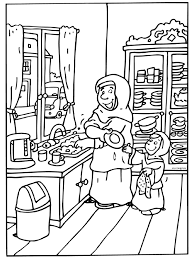 Kleurplaat Moeder En Dochter Wassen Af Kleurplatennl