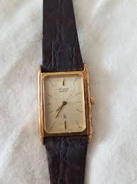 mens gold citizen watch with brown leather band