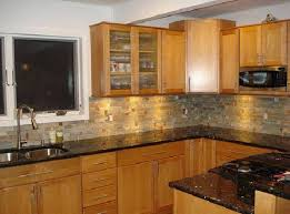 Kitchen With Stone Backsplash Kitchens Black Granite Countertops With Stone Backsplash