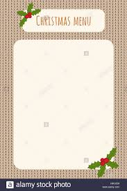 christmas menu template over a knitted background holly stock christmas menu template over a knitted background holly decorations
