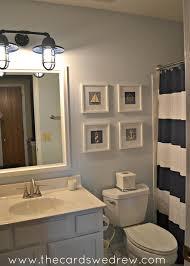 ... Fantastic Design Of Nautical Bathroom Decoration : Incredible Nautical Bathroom  Design Ideas With Navy Blue Stripe ...