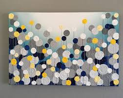 >yellow gray and aqua blue wall art textured painting navy blue turquoise yellow and gray textured painting abstract flowers large acrylic painting on canvas select a size