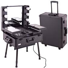amazon black pro studio aluminum professional makeup artist rolling wheeled organizer trolley cosmetic train case table w lights lighted makeup