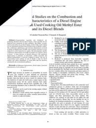 Experimental Studies on the Combustion and Emission Characteristics of a  Diesel Engine Fuelled with Used Cooking Oil Methyl Ester and its Diesel  Blends | Diesel Fuel | Biodiesel