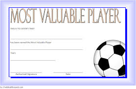 Free Soccer Certificate Templates Soccer Mvp Certificate Template 6 Paddle At The Point