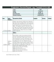 Equipment Service Log Template Vehicle Maintenance Report Template