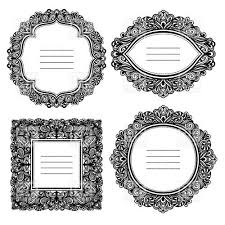 antique picture frames vector. Round, Square And Oval Blank Floral Antique Frames Royalty Free Vector Clip Art Picture
