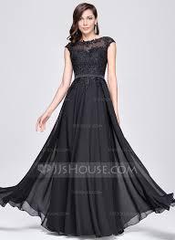 A Line Princess Scoop Neck Floor Length Chiffon Evening Dress With Dress Evening