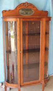 curved glass curio cabinet. Exellent Cabinet Image Is Loading VintageChinaHutchCurioCabinetCurvedGlass Intended Curved Glass Curio Cabinet N