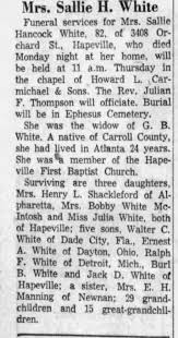 Obituary for Sallie Hancock White (Aged 82) - Newspapers.com
