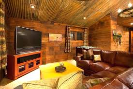corrugated metal ceiling ideas family room rustic with rusted wood walls leather lowes corruga i81 ceiling