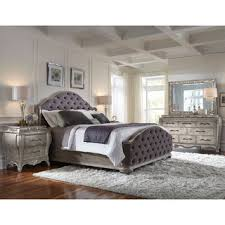 piece emmaline upholstered panel bedroom: anastasia  piece king size bedroom set