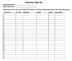 volunteer sign up sheet templates printable sign up sheet template resume builder