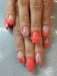 Eye Candy Nails & Training - Orange gel polish with glitter and ...