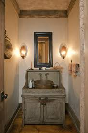 art decor bathroom interior design with modern cast iron wall lamps combined with distressed gray finish bathroom vanity lighting ideas combined
