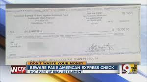 beware fake american express check