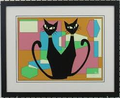 Mid Century Modern Abstract Cat Art Giclee Pencil Signed by Artist Ivy Lowe  | eBay