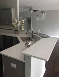 Fairy White Quartz Countertop on Gray Cabinet for Indiana Project