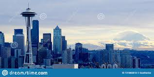 Seattle Cityscape Seattle Cityscape After A Winter S Storm Stock Photo Image