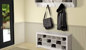 Powell Coat Rack Furniture Glass Door With White Frame And Hall Tree Storage Bench 89