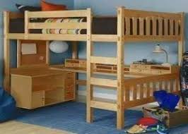 Wood bunk bed with desk underneath 4