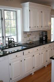 White Kitchen With Dark Tile Floors Design Ideas Wood Cabinets