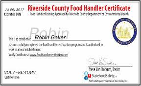 food handler certification verification fresh of riverside county