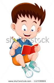 boy reading open book cute bee cartoon