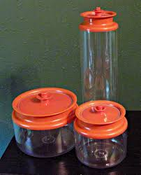 Retro Kitchen Canisters Vintage Blue Tupperware Canisters Set Of 4 With Servalier Lids