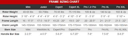 Bmx Gear Chart With Crank Length Sizing Chart Robinson Racing