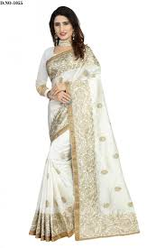 sudarshan family zoya art silk embroidery work saree with blouse piece saree white
