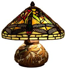 stained glass 10 tiffany style yellow mini dragonfly table lamp with m