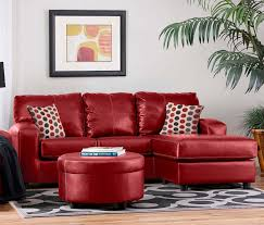 amazing red leather living room furniture set grey wool modern rug square polka dot cushion tan