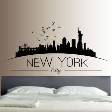 new york skyline wall sticker bedroom lounge wall art decal removable mural modern city picture design on new york skyline wall art stickers with new york skyline wall sticker bedroom lounge wall art decal