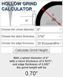 Diy Knifemakers Info Center Hollow Grind Calculator