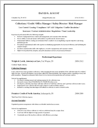 Credit Manager Resume Templates 313966 Collection Officer Resume